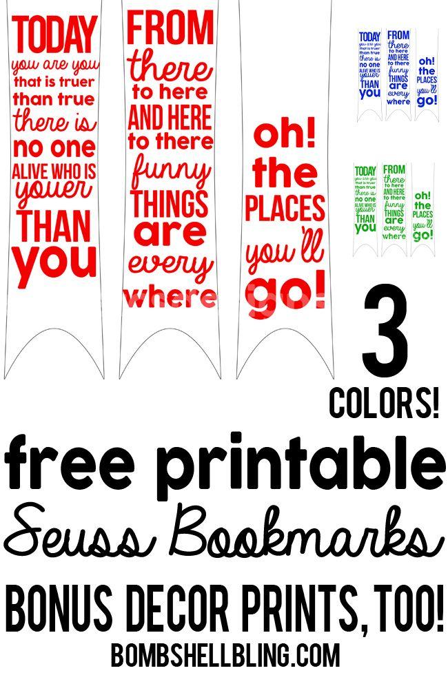 FreePrintableDrSeussPrintableBookmarkstheseare