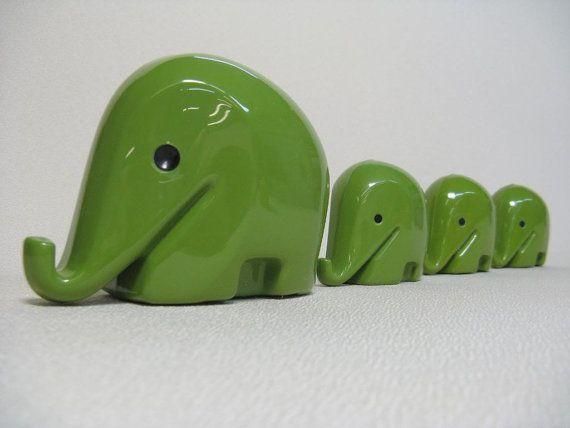 Set of 4 Vintage LUIGI COLANI Elephant 1960s Green by windesign, $156.00
