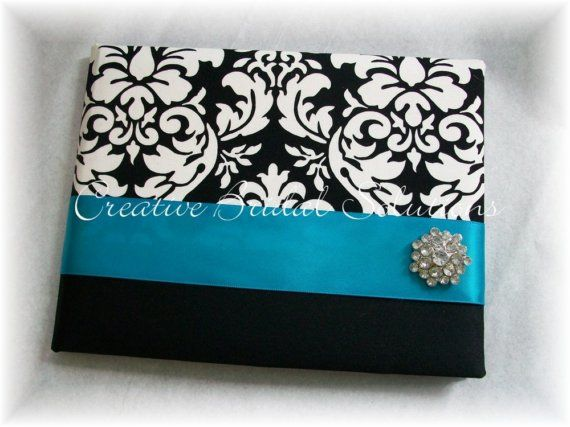 3/4 MM Black And White Damask With Turquoise By