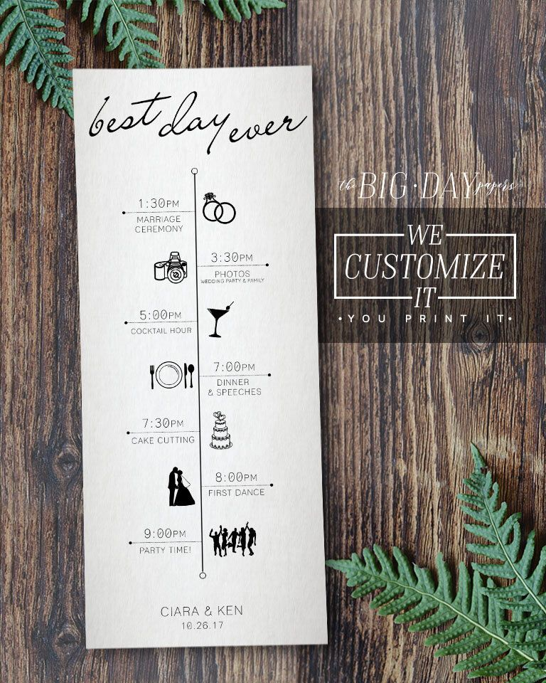 Best Time Of Day For Wedding: Customized Wedding Timeline Infographic