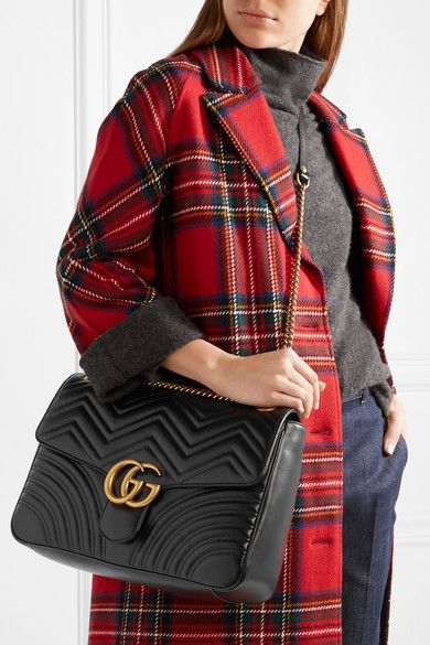 8bb46179a1e4 Gucci - Gg Marmont Large Quilted Leather Shoulder Bag - Black in ...