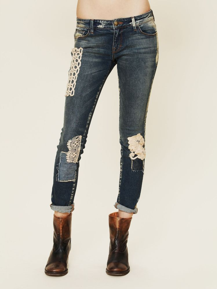 Free People Artisan De Luxe Funky Free Patched Skinny Vintage White 27 MSRP $128 #FreePeople #SlimSkinny