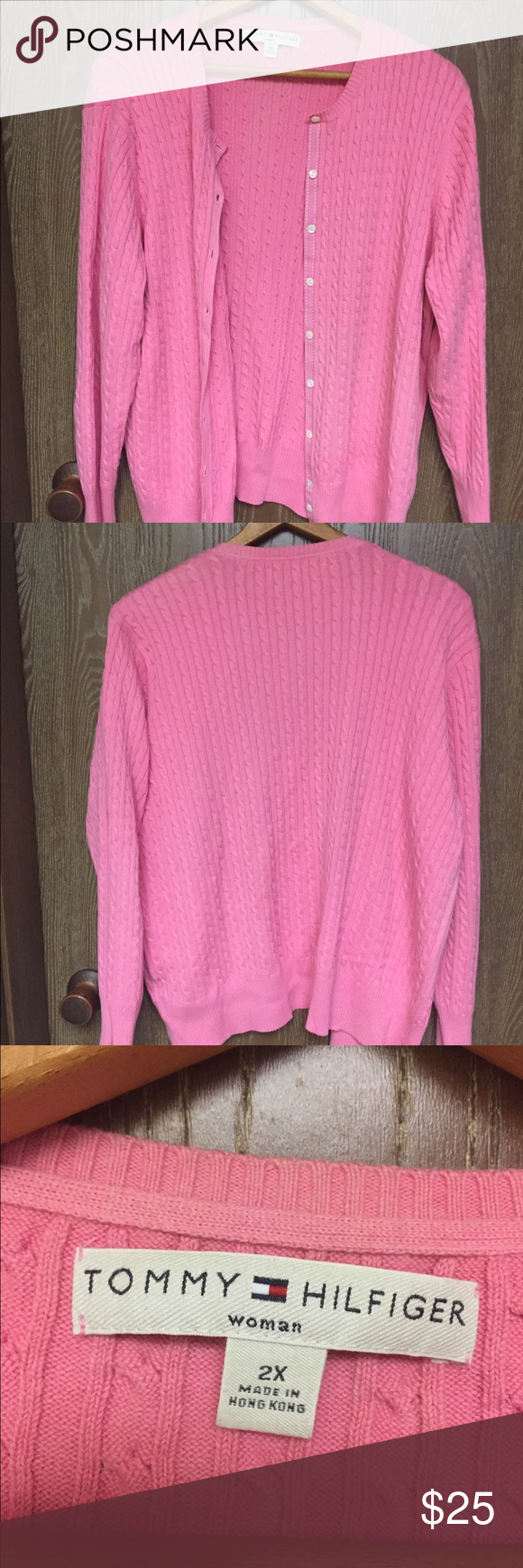 Tommy Hilfiger Sweater Women's 2x pink button up sweater Tommy ...