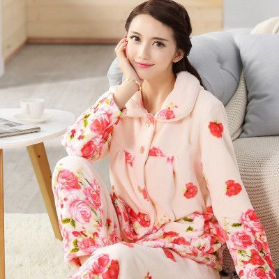 4c5081e9e8 women flannel thick pajamas coral velvet home service long sleeved autumn  and winter size winter warm