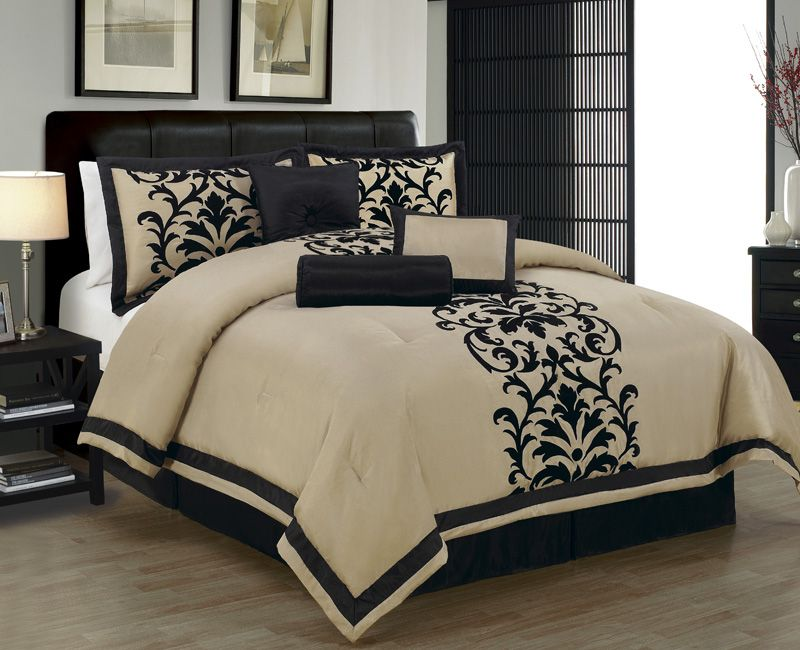 Best 7 Piece Cal King Dawson Black And Taupe Comforter Set 400 x 300
