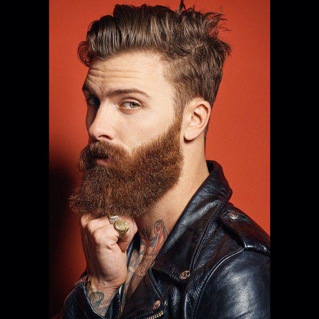 Levi Stocke - full thick dark red beard and mustache beards bearded man men mens' style leather jacket bearding grooming barber good hair cut hairstyle tattoos tattooed ginger redhead auburn #beardsforever