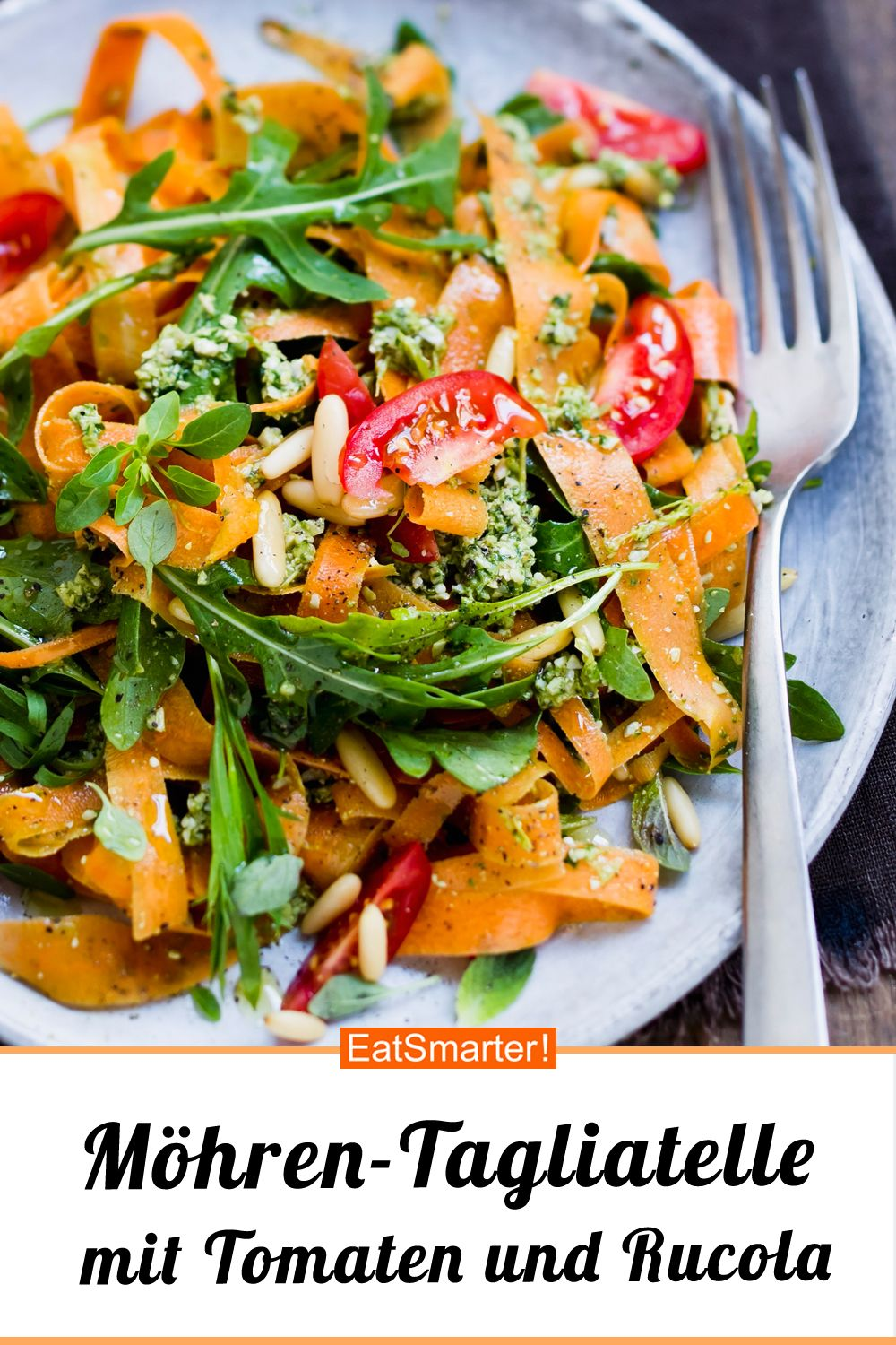 Photo of Carrot tagliatelle with tomatoes and arugula