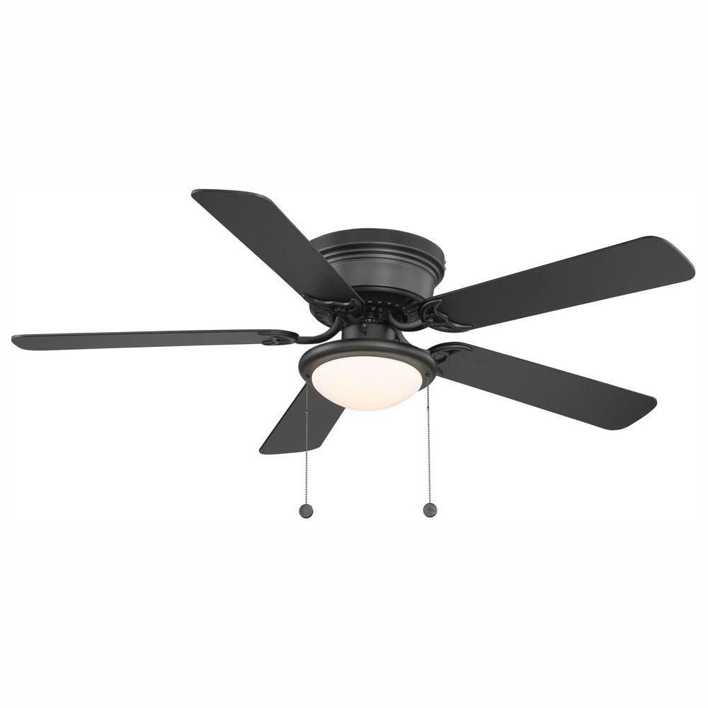 Hugger 52 In Led Indoor Black Ceiling Fan With Light Kit In 2020 Black Ceiling Fan Hugger Ceiling Fan Flush Mount Ceiling Fan