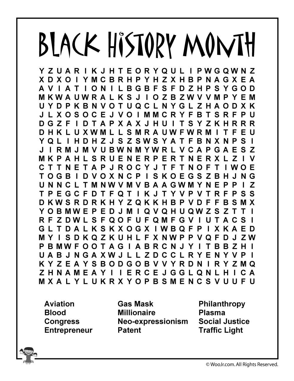 image relating to Black History Word Search Printable named Black Record Thirty day period for Little ones - 6 Unbelievable African American