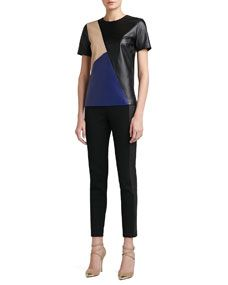 Soft Napa Leather Color Block Top With Side Slits & Stretch Milano Knit Slim Ankle Pant With Luxe Stretch Leather Side Panels
