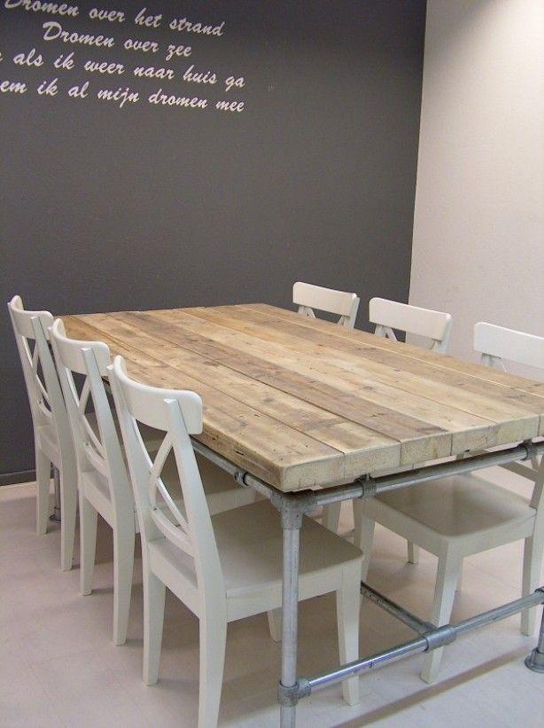 Tafel van steigerhout met poten van steigerbuizen | tafels - tables ...