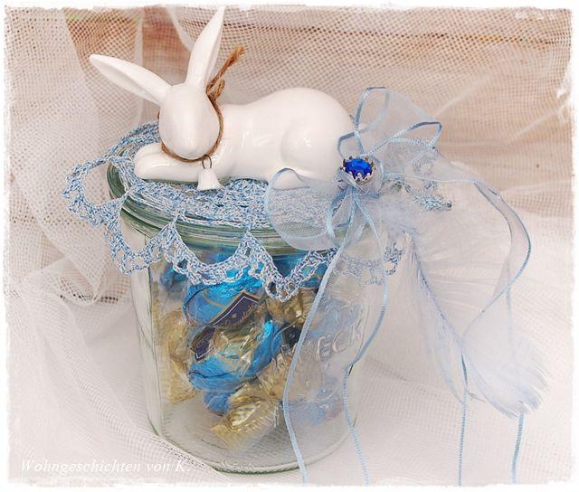 Ein dekoriertes Weckglas für die süßen Ostersachen. #weckgläserdekorieren
