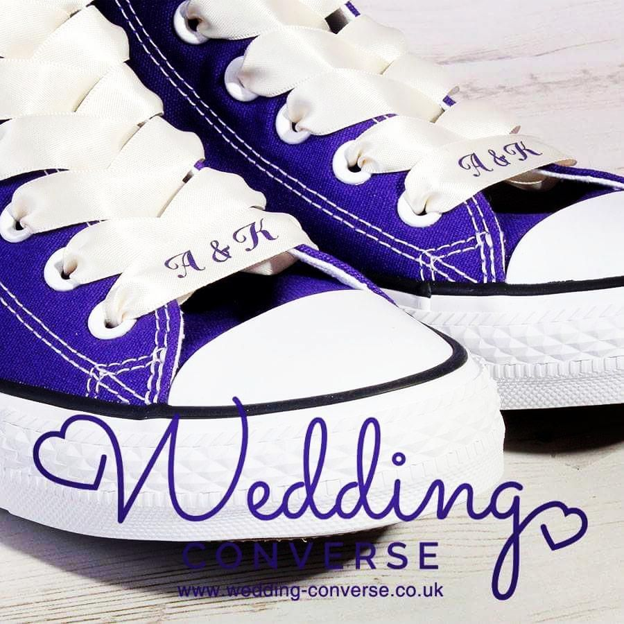 Purple #weddingconverse with ivory satin laces. We