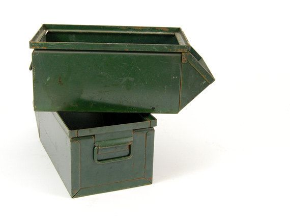 Items Similar To Vintage Industrial Metal Storage Bin   Vintage Metal Parts  Bin On Etsy