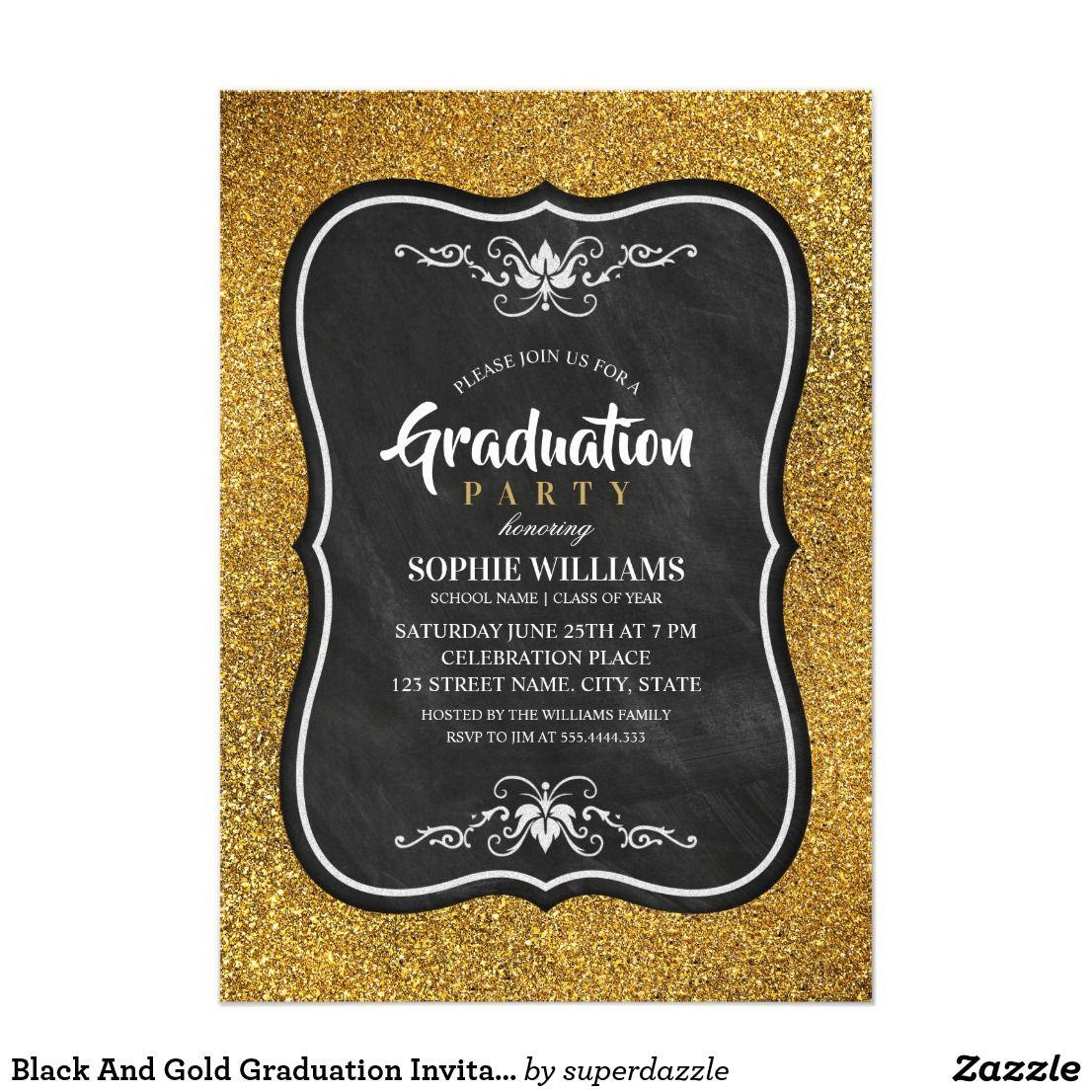 Black And Gold Graduation Invitations Glitter   Zazzle.com   Birthday party  invitation templates, 21st birthday invitations, 30th birthday party  invitations