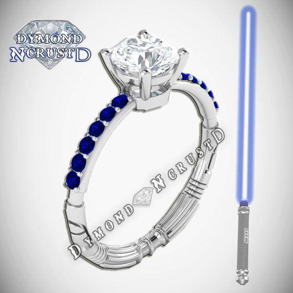 Light Saber Inspired Sapphire White Swarovski Diamond Engagement