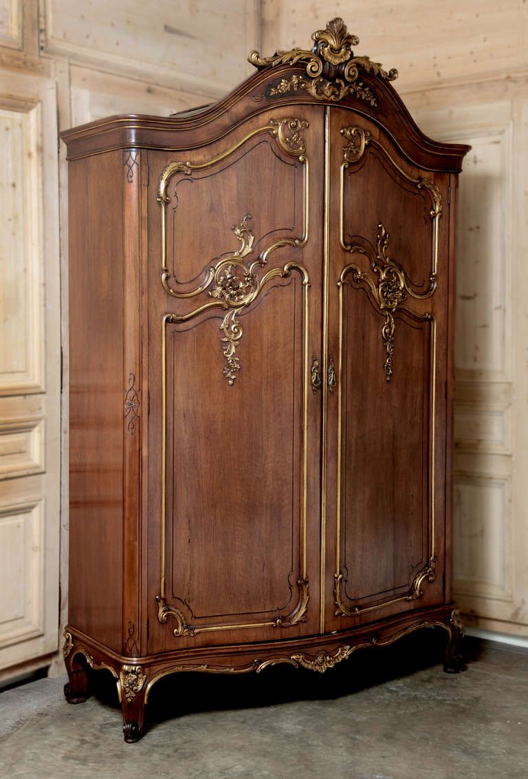 antique french regence serpentine walnut armoire modern wardrobe furniture storage and armoires. Black Bedroom Furniture Sets. Home Design Ideas