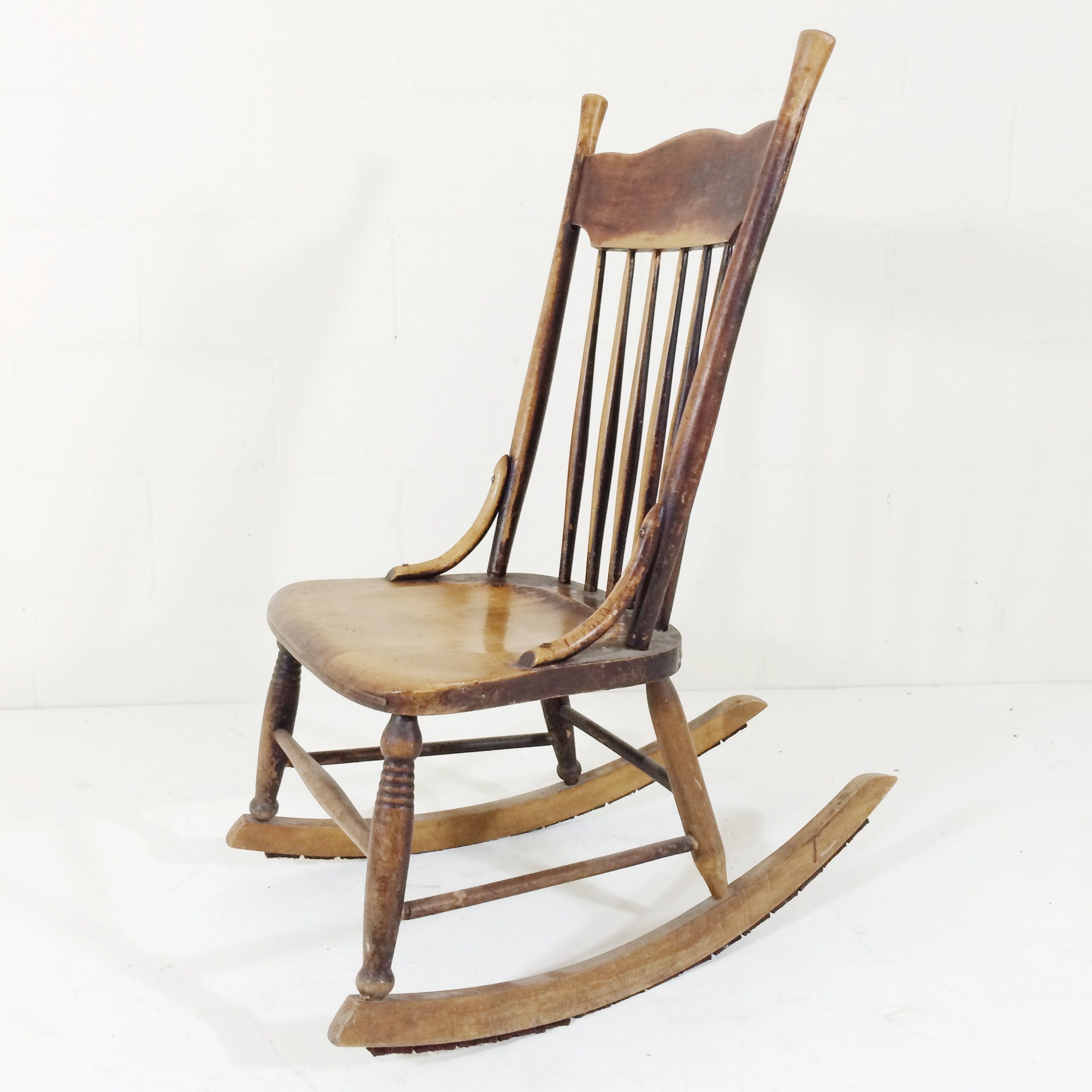 Beautifully Worn Antique Rocking Chair This Style Is Known As A Nursing Rocker As It Sits Low To The Ground And Has No Arms