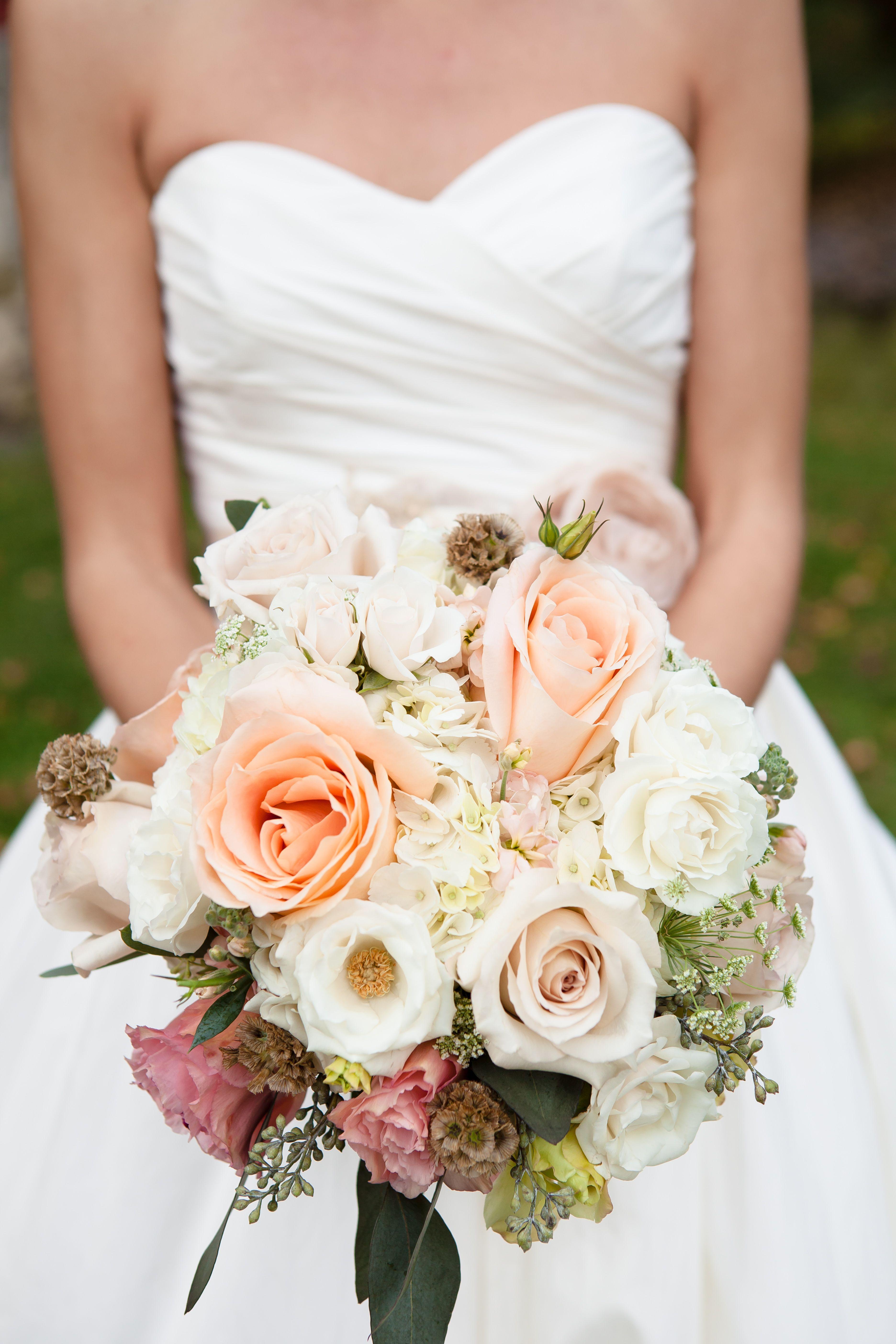 Peach Blush And White Bridal Bouquet Peach Roses White Flowers Organic Wedding Bouquet Peach Wedding Flowers White Bridal Bouquet White Bouquet