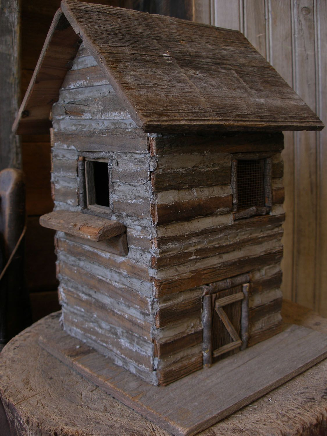 sweet liberty homestead primitive log cabin birdhouse for your