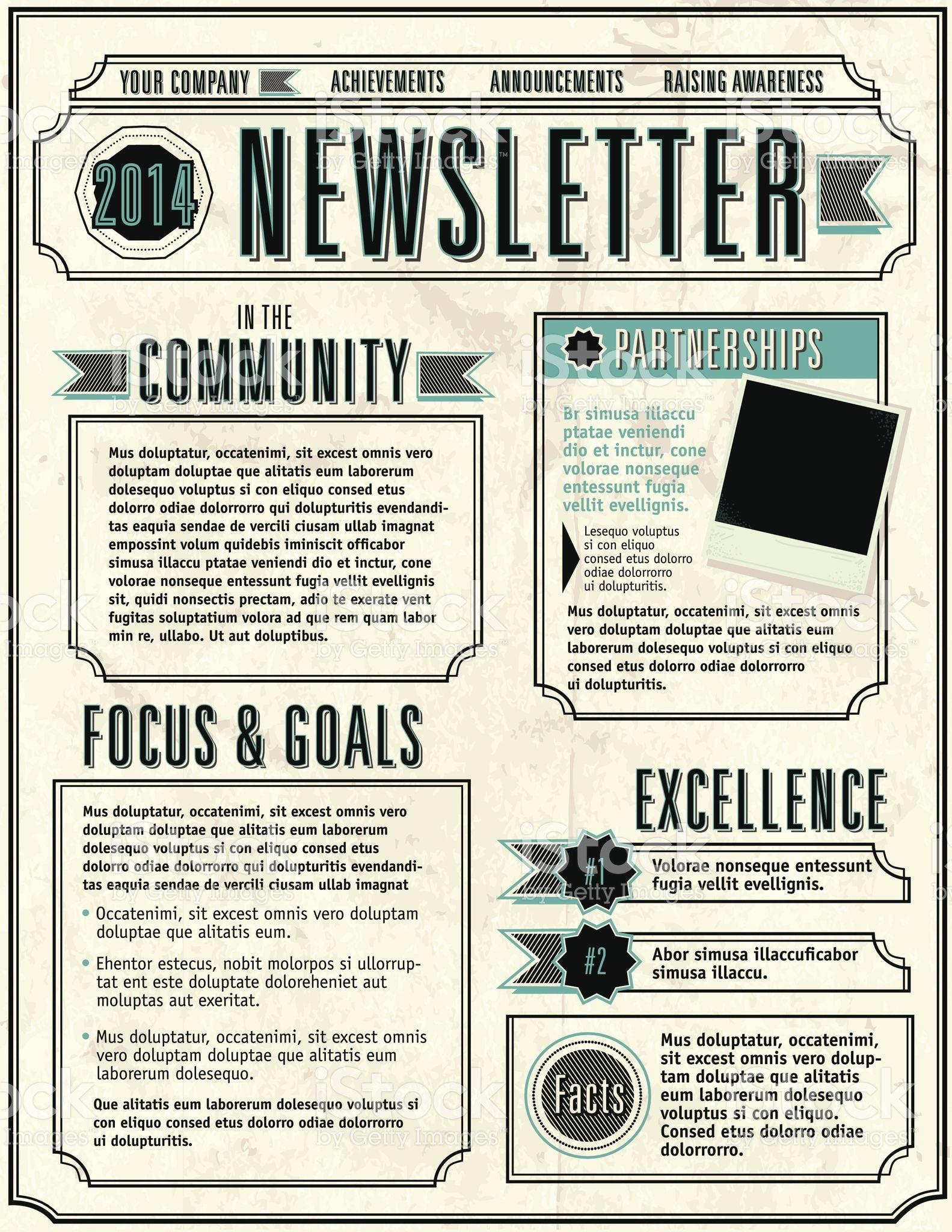 Vector Illustration Of A Company Newsletter Design Template