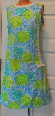 d51a4c8f4cda34 Original-Vintage-60s-THE-LILLY-Pulitzer-Floral-Shift-Dress-Lime-Green -Mums-14-M