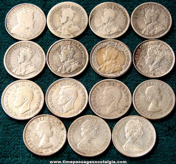 Old Dimes | 15) Old Canadian Silver Dime Coins - TPNC | Money