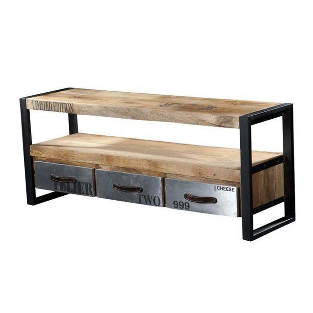 meuble tv en bois et mtal chrome - Meuble Tv Bois Et Metal