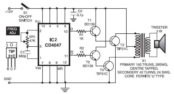electronic pest repellent circuit schematic