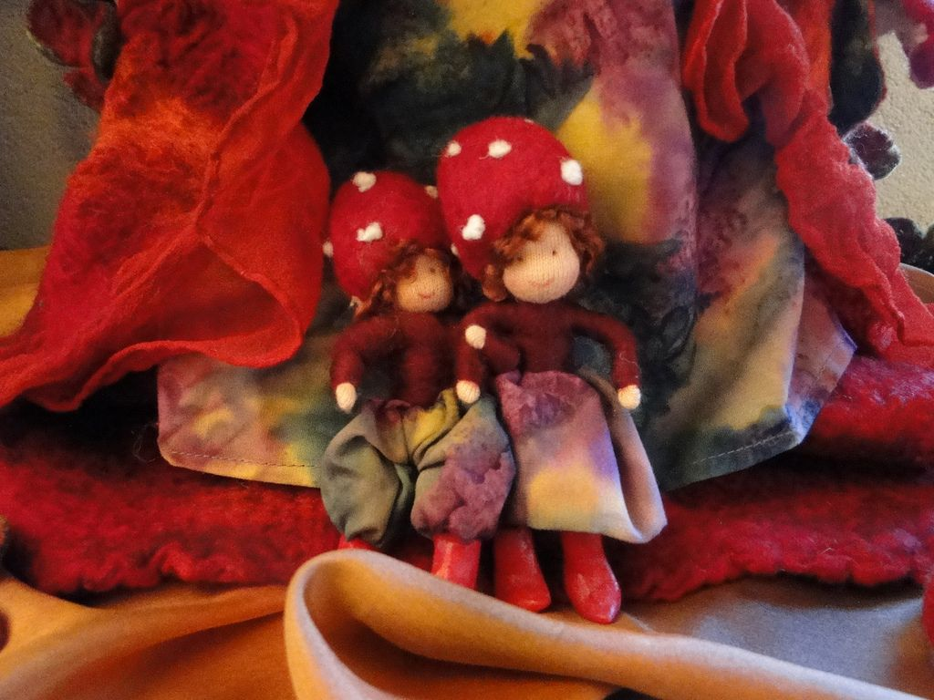 https://flic.kr/p/9aqn1L | Mushroom Mummy | This is one of the last dolls that I made a few years ago before I started quilting. And it is definitely my favourite doll. I just love all the little ones that she carrys with her. I made it all by handstitching and felting. I still like the tought that I just started with only some wool and other material and that you can make all this with only your hands. I was in shock last fall because I could not find her at the attic and almost gave up on…