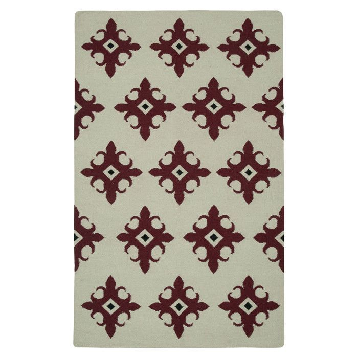 Hand-Woven Beige/Red Area Rug
