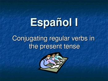 These 31 slides make conjugating regular present tense –ar, -er and –ir verbs easy! Slide show includes definitions of grammar terms, placement of subject pronouns in the verb chart, step-by-step instructions for conjugating present tense regular verbs, clear examples and animations to make it fun to watch. All six forms of the verb are present, including 2nd person plural for vosotros. All slides and information are mouse click activated so you can go at your own pace. Excellent for…