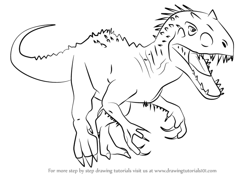 How To Draw Indominus Rex From Jurassic World Drawingtutorials101 Com Dinosaur Coloring Pages Indominus Rex Jurassic World Indominus Rex