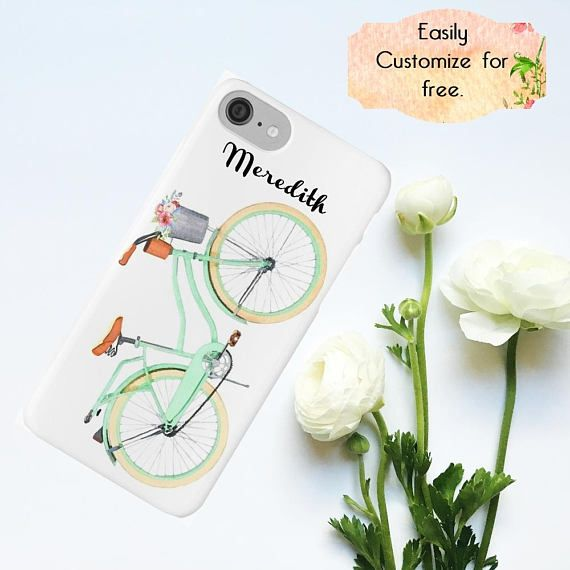 #MintGreen #Retrobicycle #Letsrideabike Retro Mint Green Phone Case Vintage Bicycle iPhone Case