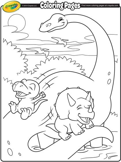 Have fun coloring in this adorable scene of dinosaur friends