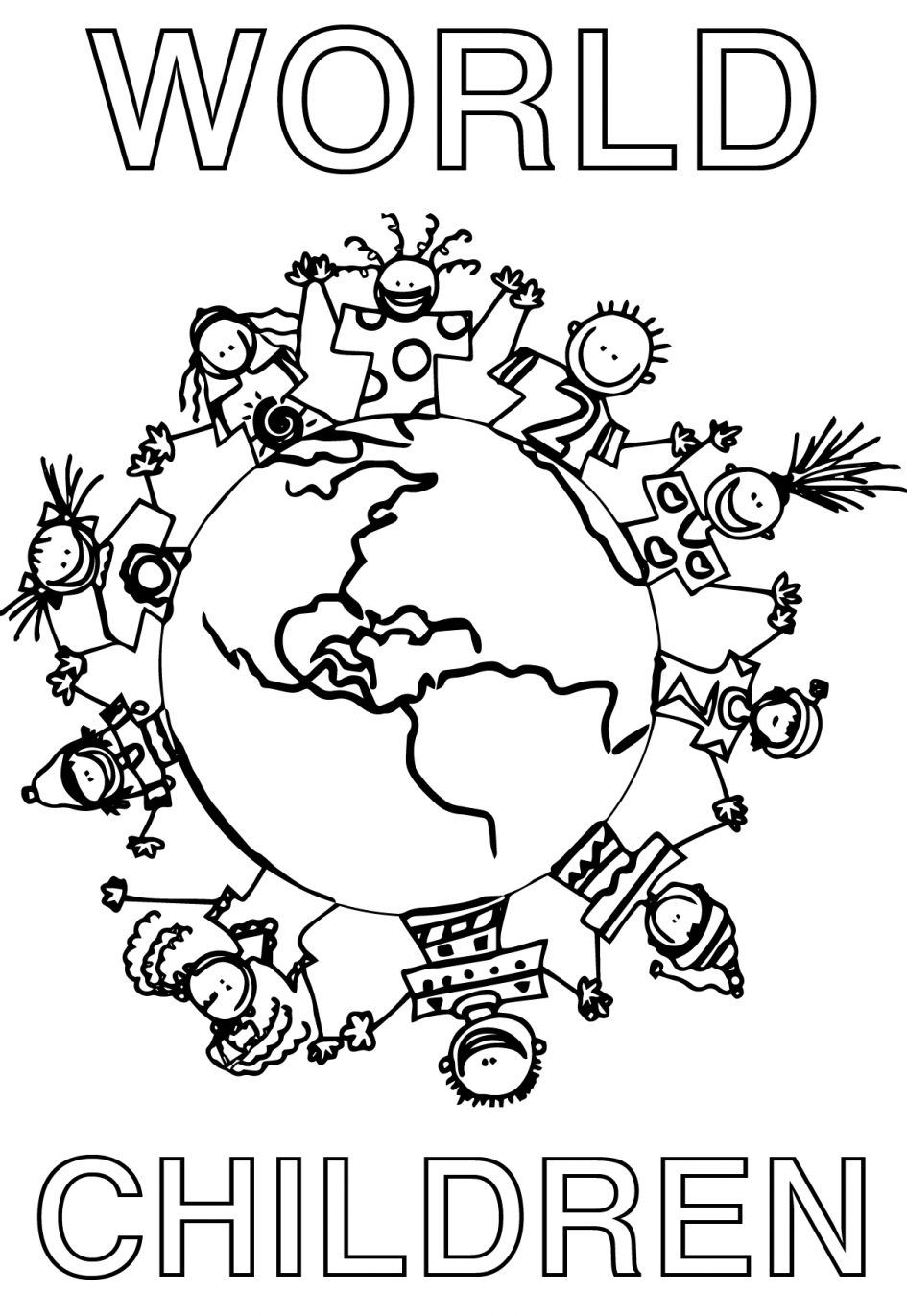 Children Holding Hands Around World Coloring Page Cute Within