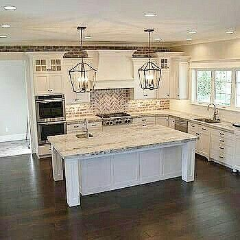 Gorgeous kitchen! Light counters and back splash, dark floor