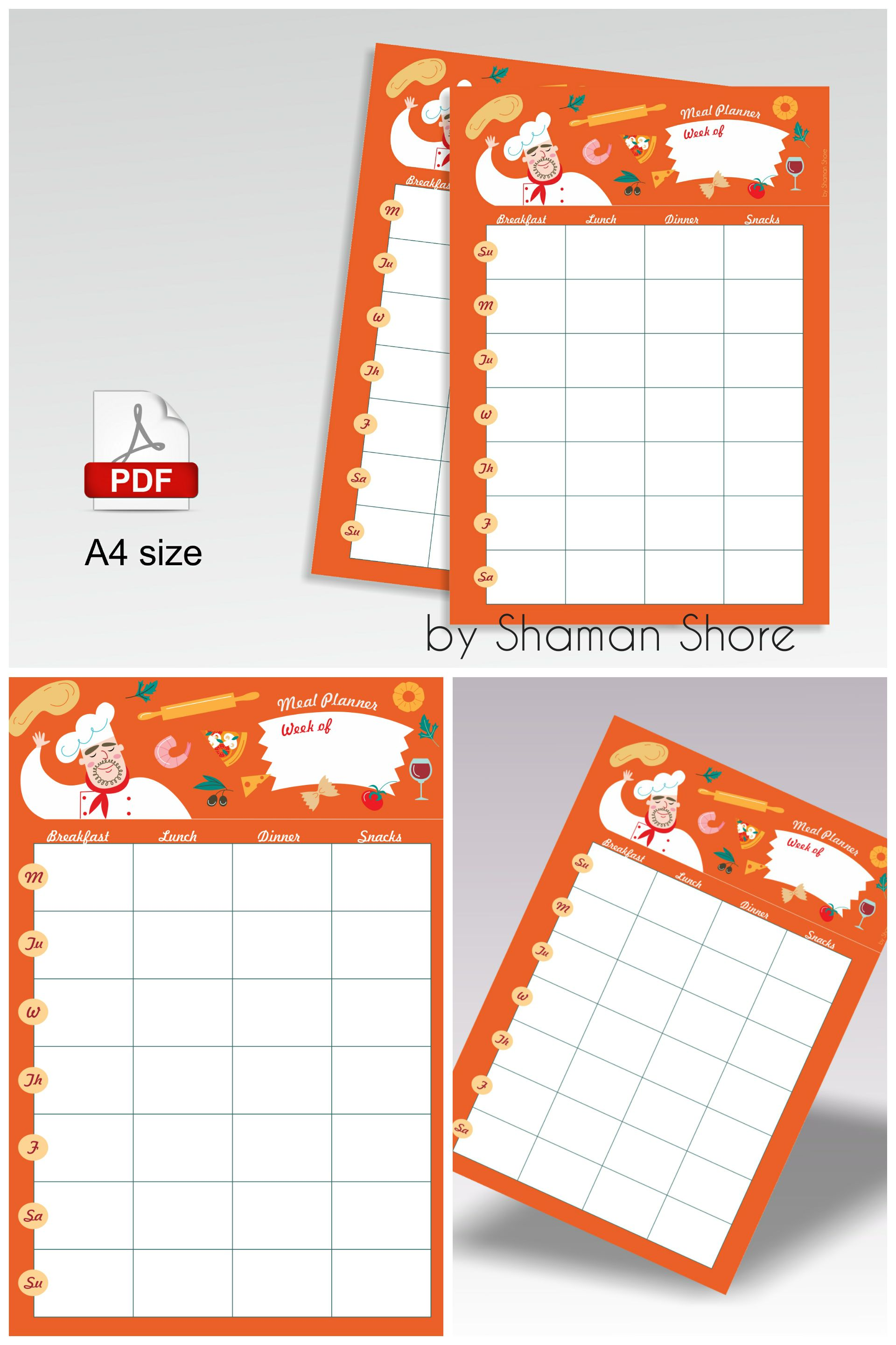 Blank Recipe Template Orange Recipe Page Printable A Pdf Color