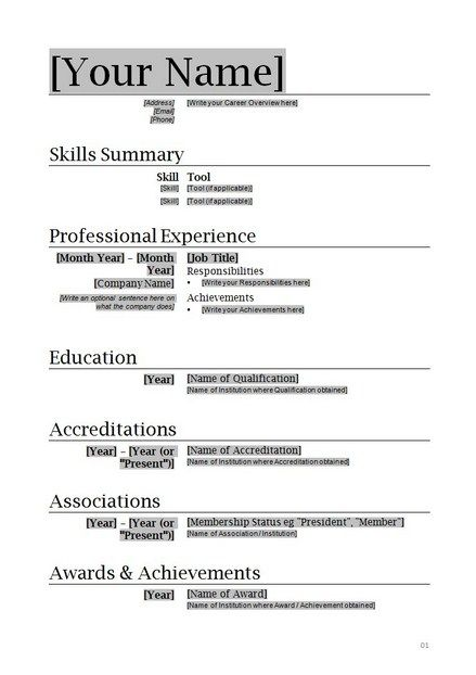 Free Basic Resume Templates Microsoft Word  Simple Resume