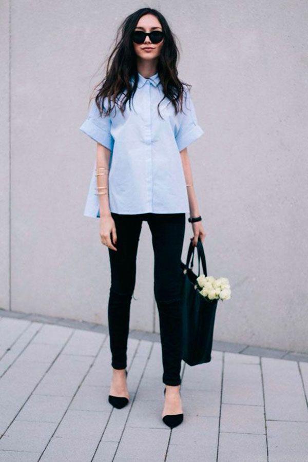 camisa manga curta azul
