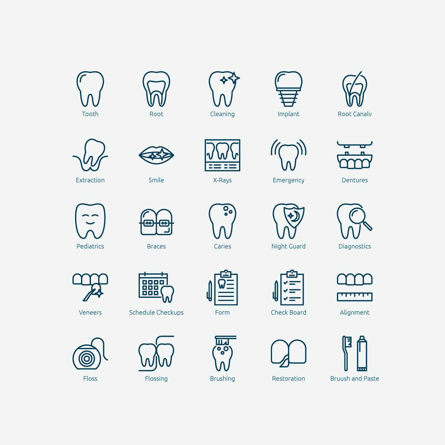 Dental Icon Set in Vector and PNG Profident