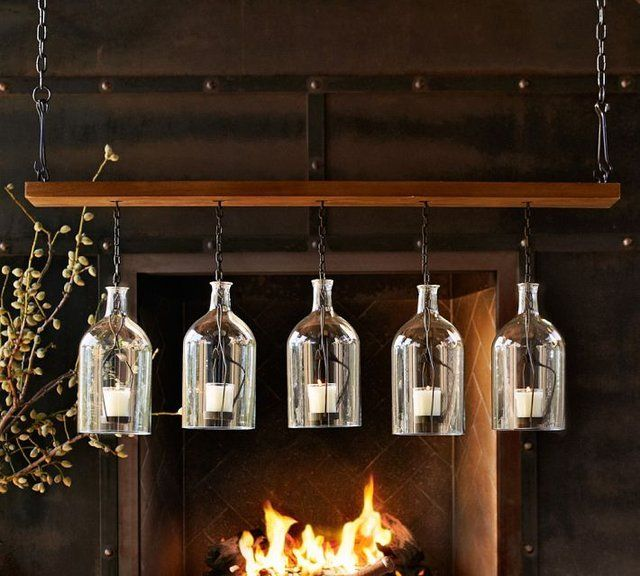 Glass Bottle Votive Chandelier With Images