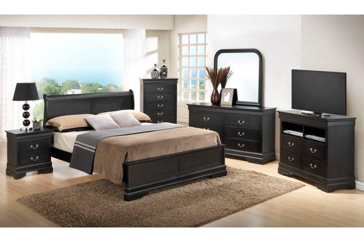 Bedroom sets dawson black queen size platform look set cherry Home