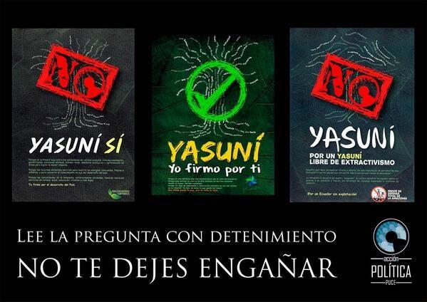 Tres formularios sobre el Yasuní publicados en los medios (16 marzo). Boicot oficialista a campaña @Yasunidos. Via Colectivo PUCE.