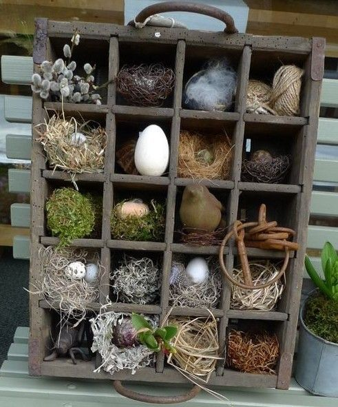 Rustic Easter cubby - Ostern Dekoration Garten Beton #japangarden