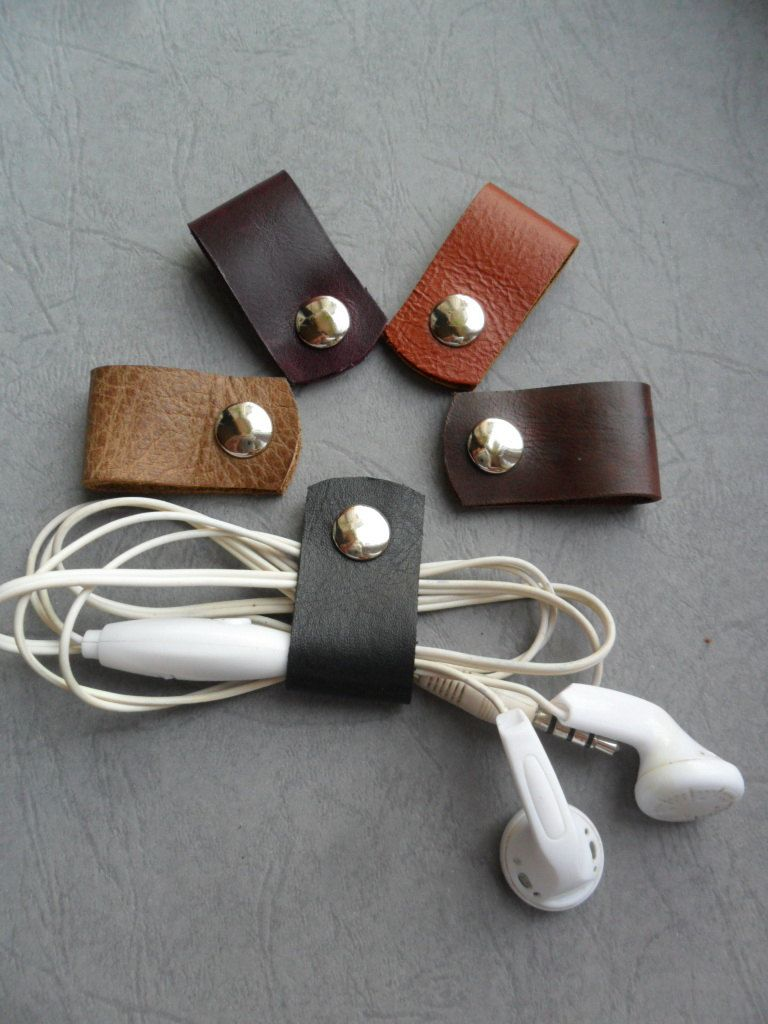 Earphone holder leather Cord clasps leather Headphone clasps ...