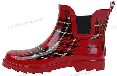 6bd6922637bd Womens-Rain-Boots-Rubber-Short-Ankle-Wellies-wellington-Pull-On-Garden -Size-5-11