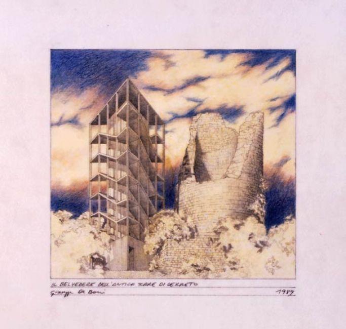 """Giuseppe De Boni, Laboratorio di progettazione di Cerreto Sannita, 1988, """"Il belvedere dell'antica torre di Cerreto"""", 1989, Matita, pastelli su carta da lucido, 24x30 cm. #sketch"""