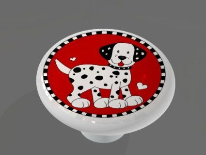 6.25 amazonLovely Little Dalmatian High Gloss Ceramic Drawer Knob