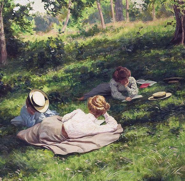 """""""Three Reading Women"""" di Johan Krouthén (Svezia 1858 - 1932). Olio su tela, 75 x 100 cm, 1908. Parte Centrale. Collezione Privata"""